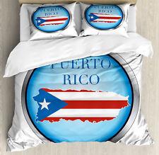 Puerto Rico Juego de Funda Nórdica Circular con la bandera