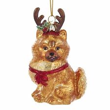 Pomeranian w/Antlers Noble Gems Glass Ornament