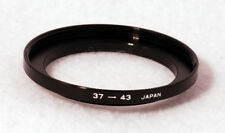 Metal Step Up Ring 37mm to 43mm 37-43 Adapter - Made in Japan - Black Metal