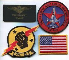 TOM ICEMAN KAZANSKY TOP GUN MOVIE F-5 TIGER US Navy Squadron Costume Patch Set