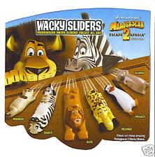 SET 6 Wacky Slider MADAGASCAR ESCAPE 2 AFRICA Cereal toy General Mill