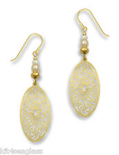 Adajio GOLD Filigree Oval EARRINGS Gold Plate Dangle Jewelry - Gift Wrapped Box