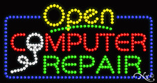 "New ""Open Computer Repair"" 32x17 Solid/Animated Led Sign W/Custom Options 25490"