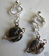 FUNKY AROUND THE WORLD GLOBE SILVER TONE EARRINGS WITH SCREW FIXING