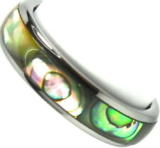 Tungsten Carbide Ring Wedding Band Abalone Shell Inlay Titanium Color Dome 6mm