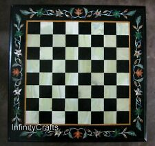 30 Inches Black Marble Coffee Cum Chess Board Table Top with Inlay Art at Border