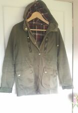 Topshop Green Khaki Parka Jacket Coat Size 8 Faux Leather Elbow Patches Grunge