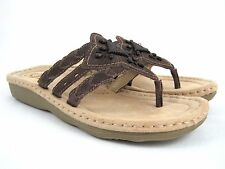 EARTH Spirit Gelron 2000 Women's Brown Leather Slide Thong Sandals Size 11