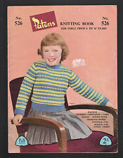 Vintage Knitting Patterns - Patons Knitting Book No 526 Girls 6-14 years - 1950s