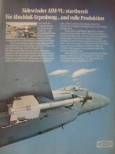 3/1978 PUB RAYTHEON AIM-9L SIDEWINDER AIR TO AIR MISSILE F-15 F-14 GERMAN AD