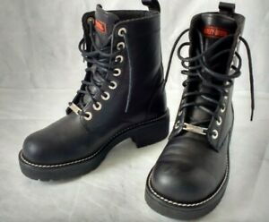 Harley-Davidson Women's-7 Boots 81090 black leather 8-eye lace-up ankle riding