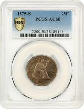 1875-S 25c PCGS AU50 - Liberty Seated Quarter