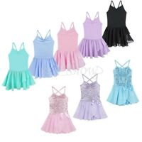 Girls Kids Dance Leotard Ballet Dress Tutu Skirt Performance Dancewear Costumes