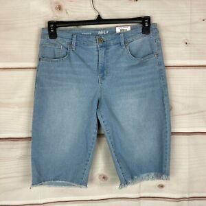 Style & Co Denim Mid Rise Cut Off Womens Size 6 Stretch Blue Bermuda Shorts New