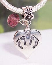 Twins Footprint Heart February Birthstone Dangle Bead for Euro Charm Bracelet