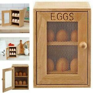 2-Tier Wooden Chicken EGG House Cupboard Cabinet 12X EGG Holder Storage EGG Rack