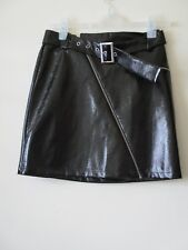 New Look SKIRT Black Patent Wet Look Shiny PU VINYL  Short Belt Zips Sz 8 NEW