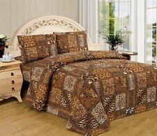 Brown Black Leopard Zebra Queen Size Sheet Set 4 Pc Safari Animal Print New