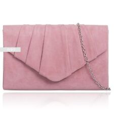 New Blush Suede Wedding Ladies Party Prom Evening Clutch Hand Bag Purse Handbag