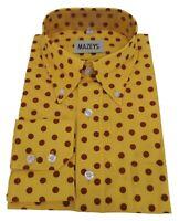 Mazeys Mens Mustard and Brown Retro Mod Polka Dot 100% Cotton Shirts…