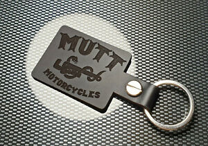 MUTT MOTORCYLCLES Leather Keyring Keychain Motorbike MOTORCYCLES BADGE BLACK
