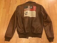 Polo Ralph Lauren A2 military pilot leather flight bomber jacket coat USA flag S