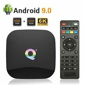 Q Plus 6K Smart TV Box Quad Core 4GB +64GB Android 9.0 HDMI WIFI Media Streamers