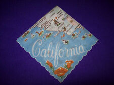 VINTAGE 1950 UNUSED MAP CALIFORNIA WHITE W/ FLOWERS FLORAL  HANKIE HANDKERCHIEF