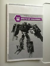 TRANSFORMERS REVENGE OF THE FALLEN BRUTICUS MAXIMUS INSTRUCTIONS GUIDE
