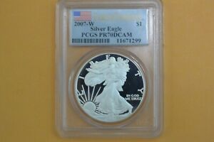 2007-W Silver Eagle - PCGS PR70DCAM - FLAG FIRST STRIKE - SPOTTED
