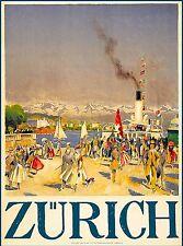 Zurich Switzerland Swiss Suisse Vintage European Travel Advertisement Poster