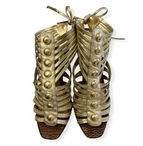 Bebe Women's Gold Straps High Heel Gladiator Sandals  Size 6 Studs Open Toe