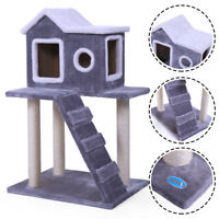 """Grey 36"""" Pet Cat Tree Play House Condo with Scratching Posts Climbing Ladder"""