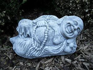 Steinfigur Buddha liegend  Frostfest Steinguss  Wetterfest  Garten Deko