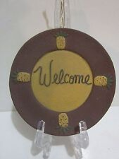 """Primitive Country Tiny Pineapple """"Welcome"""" Plate Wall Hanging, Dark Red, Mustard"""
