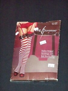 LEG AVENUE Nylon Red White Striped Sexy Thigh High Stockings w Belt Buckle Top