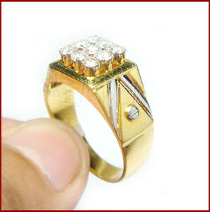 0.64CT NATURAL ROUND DIAMOND 14K SOLID YELLOW GOLD ENGAGEMENT RING FOR MEN