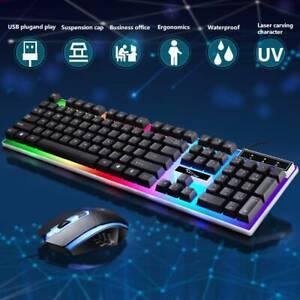 Gaming Tastatur Keyboard Maus Set RGB LED USB Mechanisch für PC Laptop PS4 Xbox