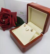 18K Oro Acabado DG creado diamante pendientes de una claridad excelente Oferta Especial 4mm