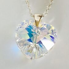 Swarovski Elements Crystal Heart Necklace 925 Sterling Silver Aurora Boreale AB
