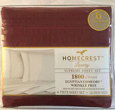 Homecrest Queen Size 6 Piece Sheet Set Egyptian Comfort Wrinkle Free Luxury