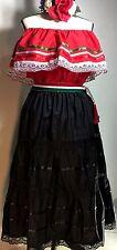MEXICAN DRESS FIESTA 5 DE MAYO OFF SHOULDER TRICOLOR 3 PIECE w/SASH Red/blo