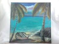Original Acrylic Painting 12 x12 Stretched Canvas Boat ,Beach Coastal Art