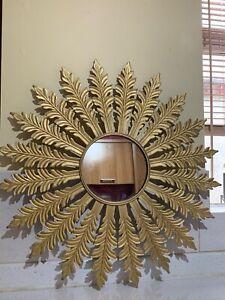 Contemporary Gold Metal Star/Leaf Burst Mirror - D57cm