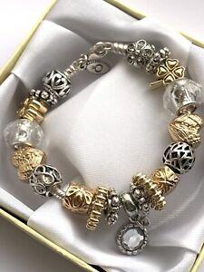 Genuine Pandora Lobster Clasp Bracelet 18cm with Charms & Clip  #B/1