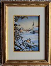 Framed Postcard Black-Capped Chickadees in Snowy Tree with Church