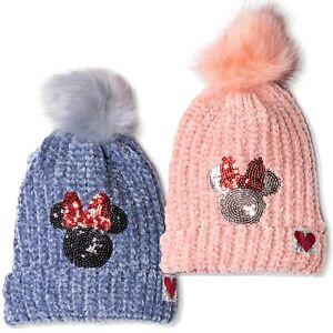 Disney Minnie Mouse Warm Winter Chenille Yarn Knitted Hats Beanie Pom Pom 2-8y