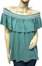 DALIA Size Large Green Off-Shoulder Elastic Neckline Women's Shirt Tank NEW