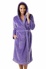 Ladies Super Luxury Soft Fleece Hooded Bath Robe Dressing Gown Wrap Housecoat