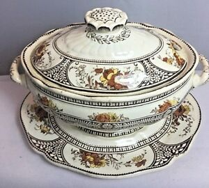 """Antique Wedgwood Small Lidded Vegetable or Sauce Dish & Under Plate """"Adour"""" 1889"""